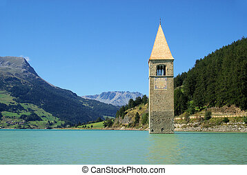 Reschensee with church 13