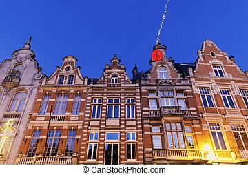 Colorful houses on Grote Markt in Mechelen. Mechelen,...