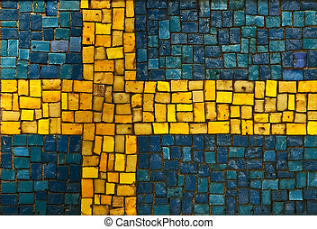 Swedish flag created as window pain