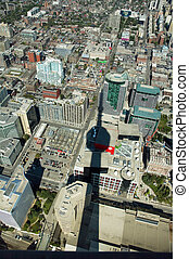 CN Tower - aerial photo of Toronto city center viewed from...