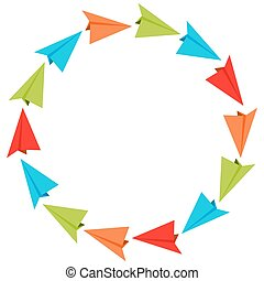 Circle Formation Paper Planes - An image of paper airplanes...