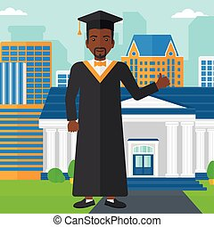 Graduate showing thumb up sign. - An african-american man in...