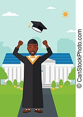 Graduate throwing up his hat. - An african-american graduate...
