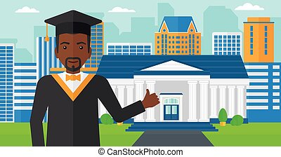 Graduate showing thumb up sign - An african-american man in...