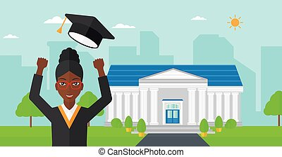 Graduate throwing up his hat - An african-american happy...