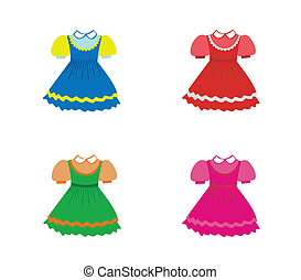 Set of children dresses. Vector