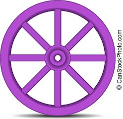 Wheel in purple design with shadow - Vintage wooden wheel in...