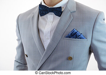 grey suit plaid texture, bowtie, pocket square - Man in grey...