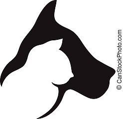 Logo dog and cat - Dog and cat heads logo silhouettes vector...