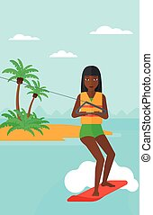 Professional wakeboard sportswoman - An african-american...