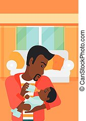 Man feeding baby. - An african-american man feeding a little...