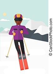 Young man skiing - An african-american man skiing on the...