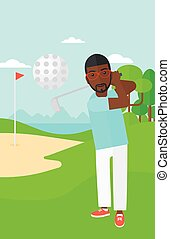 Golf player hitting the ball. - An african-american man...