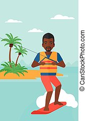 Professional wakeboard sportsman - An african-american man...