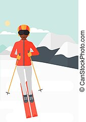 Young woman skiing. - An african-american woman skiing on...