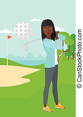 Golf player hitting the ball. - An african-american woman...
