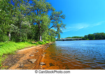 Wisconsin River Landscape Portage - Sandy shoreline of the...