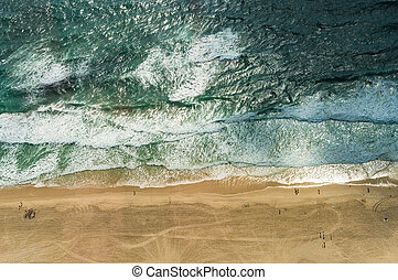 Aerial view of ocean beach. Sand beach and sea view from...