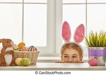 girl wearing bunny ears - Happy Easter Cute little child...