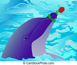 Dolphin and a rose - Amusing dolphin coming up from water...