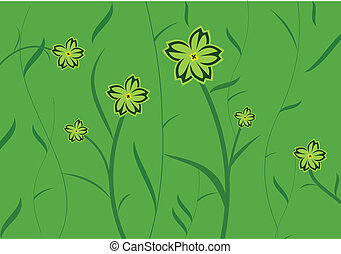 Green flower background for design of cards or invitation
