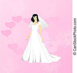 Beauty bride on pink background - Vector illustration of...