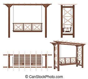Garden - park pergola swing - Landscaping design swing in 3D...