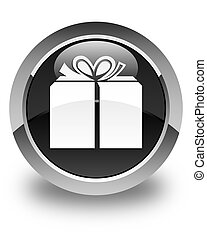 Gift box icon glossy black round button