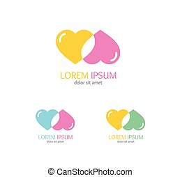 Love Sign Set. Vector - Love Sign Set. Colorful Heart....