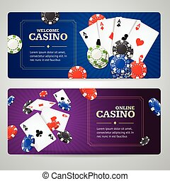 Poker Casino Banner Set. Vector - Poker Casino Banner Set...