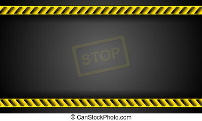 Stop sign and danger tape video animation - Stop sign and...