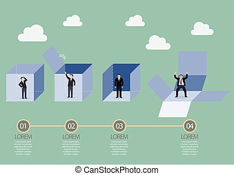 Businessman is getting out of the box infographic Business...
