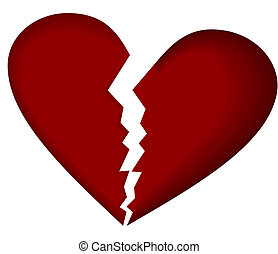 Broken heart on white Vector