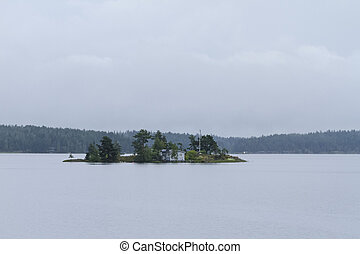 The house on the island of the lake - Single house on the...