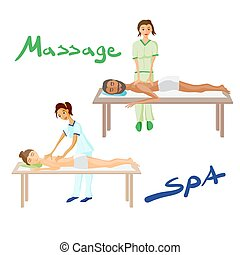 Set of vector illustration of woman and man pampering...
