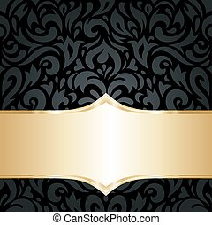 Floral Black & gold wallpaper