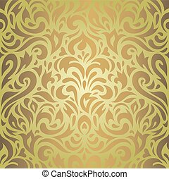 Floral green brown wallpaper