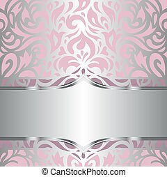 Floral pink & silver wallpaper