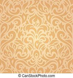 Floral retro ocher wallpaper - Floral retro ocher vintage...