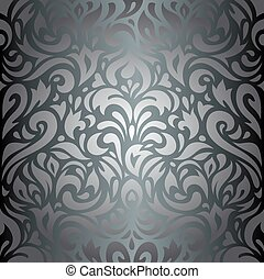 Silver floral luxury wallpaper