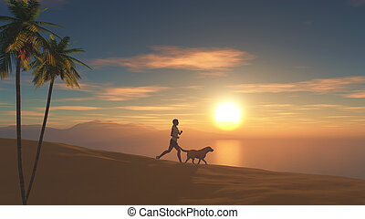 3D female jogging on beach at sunset with her dog - 3D...