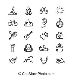 Camping Tourism Hiking Icon Set. Vector