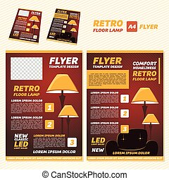 Flyer - Vector illustration retro floor lamp brochure flyer...