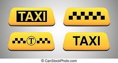Taxi sign set