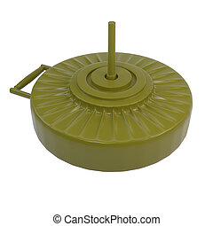 Anti-tank mine, isolated on white background 3d illustration...