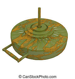Anti-tank rusty mine, isolated on white background. 3d...