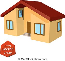 Small yellow house on white background Low Poly style Vector...