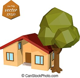 Small yellow house with tree on white background Low Poly...