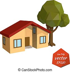 Yellow house with tree on white background Low Poly style...