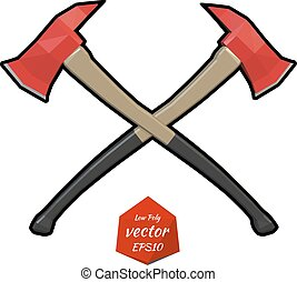 Two crossed firefighter ax on a white background Vector...